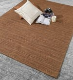 Brown Wool 80 x 56 Inch Hand Woven Loom Knotted Carpet