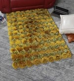 Green Polyester 48 x 32 Inch Hand Made Tufted Shaggy Carpet