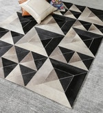 Grey & Black Leather 80 x 56 Inch Hand Made Carpet