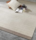 Grey & Ivory Wool 80 x 56 Inch Hand Woven Flat Weave Carpet
