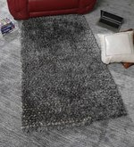 Grey & White Wool & Polyester 59 x 36 Inch Hand Tufted Pebble Carpet