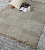 Grey Wool 80 x 56 Inch Indian Hand Made Knotted Carpet