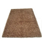 Brown Polyester 66 x 48 Inch Solid Area Rug