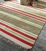 Multicolour Cotton 92 x 64 Inch Hand Woven Flat Weave Area Rug