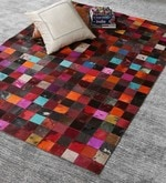 Multicolour Leather 72 x 48 Inch Hand Made Carpet
