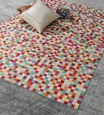 Multicolour Leather 80 x 56 Inch Hand Made Carpet