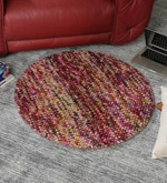 Multicolour Wool 32 Inch Hand Woven Pebble Round Carpet