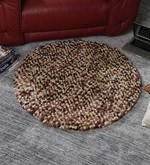 Multicolour Wool 36 Inch Hand Woven Pebble Round Carpet
