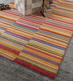 Multicolour Wool 80 x 56 Inch Hand Woven Loom Knotted Carpet