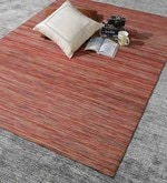 Red Wool 76 x 52 Inch Hand Woven Flat Weave Area Rug