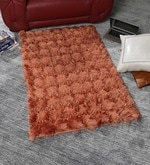 Rust Polyester 48 x 32 Inch Hand Made Tufted Shaggy Carpet