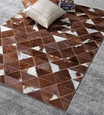 HDP Tan & Blue Leather 72 x 48 Inch Hand Made Carpet