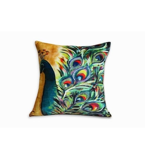 hd digital print sateen and velvet peacock cushion cover by sej by rh pepperfry com