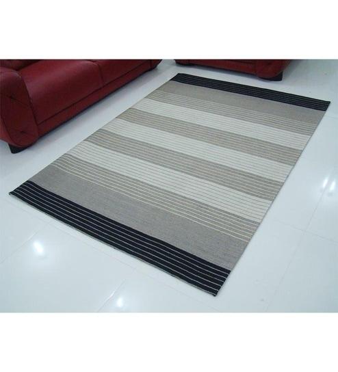 HDP Hand Woven Striped Grey Flatweave Woollen Rug by HDP Online
