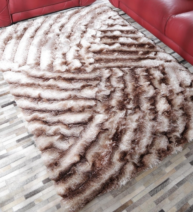 Beige & Brown Polyester 69 x 49 Inch Shaggy Carpet by HDP