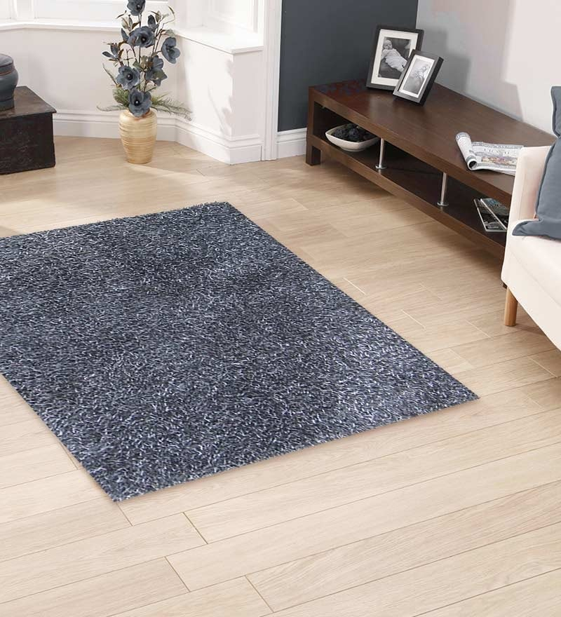 Grey Polyester 55 x 79 Inch Solid Area Rug by HDP
