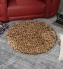 Beige & Brown Wool 32 Inch Hand Woven Pebble Round Carpet by HDP