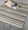 Beige & Brown Wool 80 x 56 Inch Hand Woven Flat Weave Area Rug by HDP