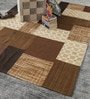 Beige & Brown Wool 80 x 56 Inch Hand Woven Patchwork Area Rug by HDP