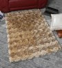 Beige Polyester 48 x 32 Inch Hand Made Tufted Shaggy Carpet by HDP