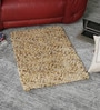 Beige Wool 32 x 24 Inch Hand Woven Pebble Bedside Carpet by HDP