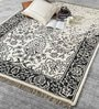 Black & White Wool 80 x 56 Inch Indian Hand Made Knotted Carpet by HDP
