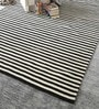 Black & White Wool 92 x 64 Inch Hand Made Flat Weave Carpet by HDP