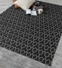 Black Wool 80 x 56 Inch Hand Woven Flat Weave Area Rug by HDP