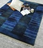 Blue & Gold Wool 80 x 56 Inch Indian Hand Knotted Over Dye Carpet by HDP