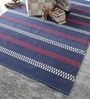 Blue Cotton 80 x 56 Inch Hand Woven Flat Weave Area Rug by HDP