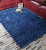 HDP Blue Polyester 47 x 67 Inch Shaggy Carpet