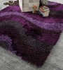 Blue Polyester 80 x 56 Inch Hand Made Tufted Shaggy Carpet by HDP