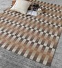 Brown & Beige Wool 80 x 56 Inch Hand Woven Flat Weave Area Rug by HDP