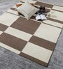 Brown & White Wool 80 x 56 Inch Hand Made Flat Weave Kilim Carpet by HDP