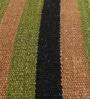 Green & Black Wool 86 x 62 Inch Rainbow Flat Weave Kilim Carpet by HDP