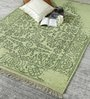 Green Wool 80 x 56 Inch Indian Hand Made Knotted Carpet by HDP