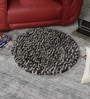 Grey & Black Wool 36 Inch Hand Woven Pebble Round Carpet by HDP