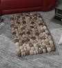 Grey & Brown Wool 32 x 20 Inch Reversible Felt Ball Bed Side Carpet by HDP