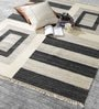 Grey & Ivory Wool 80 x 56 Inch Hand Made Kilim Carpet by HDP