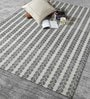 Grey & Ivory Wool 80 x 56 Inch Hand Woven Flat Weave Area Rug by HDP