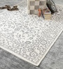 Grey & White Cotton 80 x 56 Inch Hand Woven Flat Weave Printed Area Rug by HDP