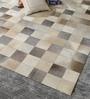 Grey & White Leather 92 x 66 Inch Hand Made Carpet by HDP