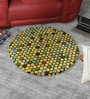 Multicolour Wool 32 Inch Hand Carved Tufted Round Carpet by HDP