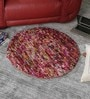 Multicolour Wool 32 Inch Hand Woven Pebble Round Carpet by HDP