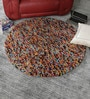 Multicolour Wool 48 Inch Hand Woven Pebble Round Carpet by HDP