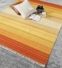 Multicolour Wool 80 x 56 Inch Rainbow Flat Weave Kilim Carpet by HDP