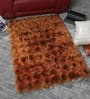 Orange Polyester 48 x 32 Inch Hand Made Tufted Shaggy Carpet by HDP