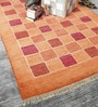 Orange Wool 80 x 56 Inch Indian Hand Made Knotted Carpet by HDP