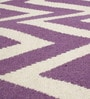 Purple & White Wool 80 x 56 Inch Hand Made Flat Weave Carpet by HDP