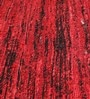 HDP Red & Black Recycled Saree Silk & Wool 80 x 56 Inch Hand Woven Flat Weave Carpet